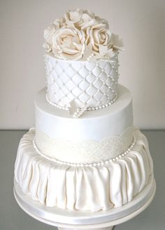 Sugar roses, quilting, lace and fabric effects on this doudle stacked 3 tier wedding cake. https://www.facebook.com/pages/Strawberry-Sky-Cakes/155937597766548