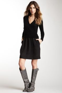 Sweater with black dress and boots? Hunters instead of these ugly ones,