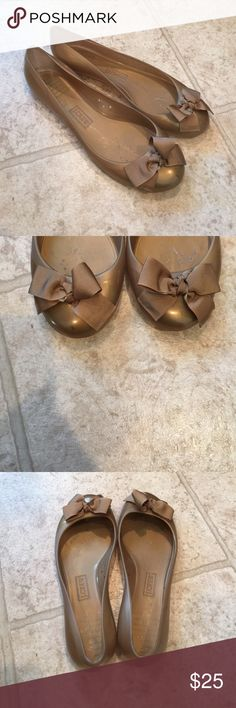 J. Crew Flats Beautiful gold flats with bow. A little wear inside but still look great. So pretty! J. Crew Shoes