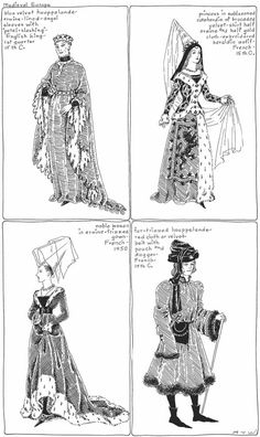 The Mode in Furs: A Historical Survey with 680 Illustrations Coloring Book Art, Colouring Pages, Adult Coloring Pages, Medieval Fashion, Medieval Clothing, Steampunk Clothing, Steampunk Fashion, Historical Costume, Historical Clothing