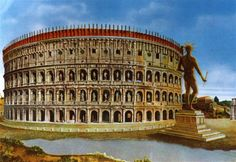 Reconstruction of the Colosseum including the golden statue of Nero, that gave the building its name.
