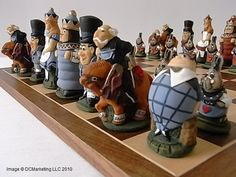 Alice In Wonderland Hand Painted Theme Chess Set