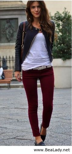 I don't usually like burgundy, but I like these jeans in that color. It almost becomes a neutral color.