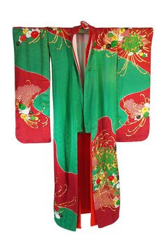 1950s Embroidered and Hand Dyed Furisode Kimono