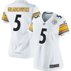 Bruce Gradkowski Women's Elite White Jersey: Nike NFL Pittsburgh Steelers Road #5