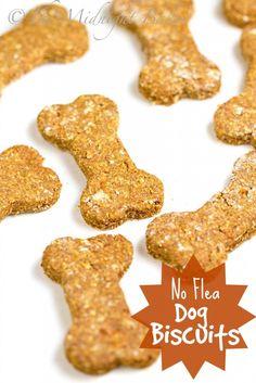 No-Flea Dog Biscuits   bakeatmidnite.com   #dogbiscuits #brewersyeast #naturaldogremedies #antiflea