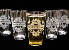 4 Personalized Beer Glasses, customize for your Beer Themed wedding.  Perfect for the Craft Beer lovers!