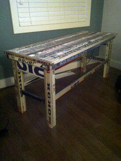 For Jaclyn: Hockey Stick Table. It makes me think of Brayton :) Rink Hockey, Hockey Party, Hockey Mom, Hockey Stuff, Hockey Players, Boy Room, Kids Room, Hockey Bedroom, Hockey Decor