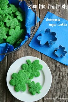 Kiss Me, I m Irish - Shamrock Sugar Cookies - cookies that are long on goodness.