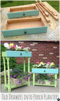 40 Awesome Makeovers: Clever Ways With Tutorials to Repurpose Old Furniture 21 Old Drawers Turned Into Porch Planters Refurbished Furniture, Repurposed Furniture, Furniture Makeover, Diy Wood Projects, Furniture Projects, Diy Furniture, Furniture Stores, Western Furniture, Affordable Furniture