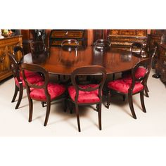 A fabulous dining set comprising a Regency Revival Jupe style flame mahogany dining table by William Tillman and a set of ten antique Victorian dining chairs. Buy Dining Table, Mahogany Dining Table, Extendable Dining Table, Dining Set, Dining Rooms, Victorian Dining Chairs, Antique Chairs, Expanding Round Table, Mahogany Furniture