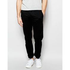Farah Chino in Slim Fit Stretch Cotton (270 BRL) ❤ liked on Polyvore featuring men's fashion, men's clothing, men's pants, men's casual pants and black