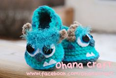 Again, I need a friend to make this for, and also a hat pattern to go with. Sulley baby booties 0~12 months
