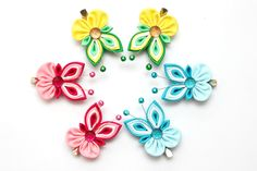 Set of 2 Kanzashi butterfly hair clips. Pink baby by FlosMollis