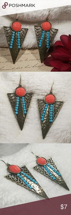 """Aztec Triangular Drop Earrings 2.5"""" Drop burnished gold triangular drop earrings w/orange faceted cobochons and turquoise cobochons to accent. ITEM#969 **ALL JEWELRY IS NWT/NWOT/UNUSED VINTAGE** 25% OFF BUNDLES OF 3 OR MORE ITEMS! **REASONABLE OFFERS ACCEPTED** BUY WITH CONFIDENCE~TOP 10% SELLER, FAST SHIPPING, 5 STAR RATING, & FREE GIFT(S) w/MOST ORDERS! Jesi's Fashionz  Jewelry Earrings"""