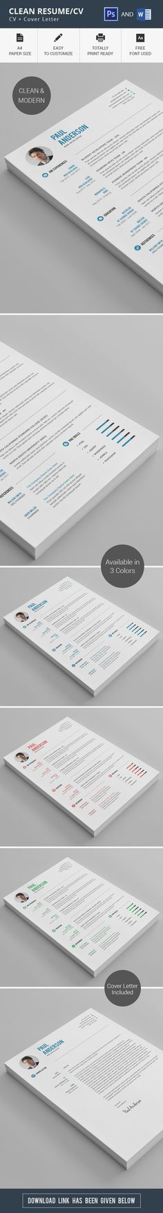 Resume CV - #Resumes #Stationery Download here   - clean resume format