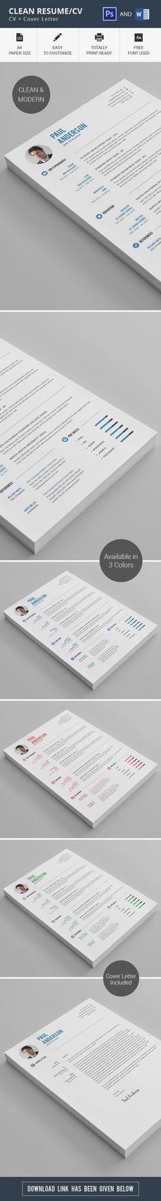 Clean Cv-Resume Resume Templates Pinterest Cv resume - clean resume templates
