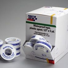 1/2 in. x5 yd Waterproof tape w/plastic spool- 36 per dispenser box - Hard working and easy to use, that's what this waterproof spooled tape offers you. Strong adhesives hold dressings in place, even when wet. The spooled design makes measuring, cutting and application easy. Even tearing is a cinch. At Home > Emergency > First Aid. Weight: 3.00