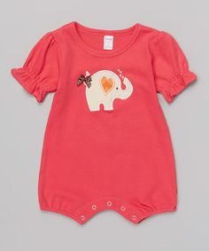 Another great find on #zulily! Red Heart Elephant Romper - Infant by Petunia Petals #zulilyfinds