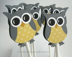 Owl Cupcake Toppers Gray and Soft Yellow by BeautifulPaperCrafts, $12.00