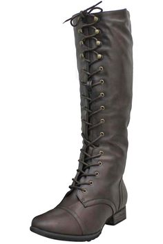 Brown Knee Tall Combat Boots With Lace-Up & Zipper Closure