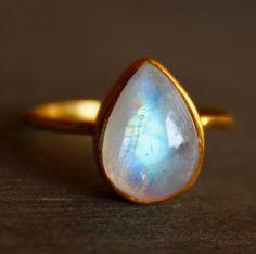 SALE White Moonstone Ring - Teardrop - Stacking Ring, June Birthstone, June Birthdays