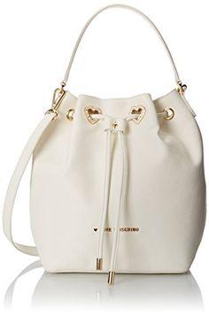 Love Moschino Bucket Bag with Detachable Cross Body - Handbag White  Shoulder Bags 30d4560b6c0de