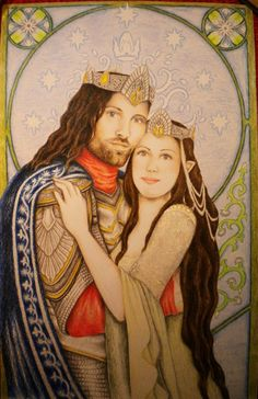 Coronation by ~annoulaki on deviantART ~ King Aragorn & Queen Arwen ~ LOTR Aragorn And Arwen, Legolas, Fairytale Art, Character Sketches, Historical Art, Jrr Tolkien, Dark Lord, Cool Backgrounds, Middle Earth