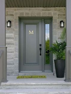 Front Door Paint Colors - Want a quick makeover? Paint your front door a different color. Here a pretty front door color ideas to improve your home's curb appeal and add more style! Entry Door With Sidelights, Front Door Entrance, Exterior Front Doors, House Front Door, Glass Front Door, House Entrance, Front Door Decor, Entry Doors, Front Entry