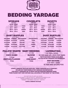 Sewing new bedding?  Good info to have - Free Printable Fabric Yardage Guide!