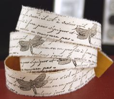 French Script and Dragonfly Ribbon