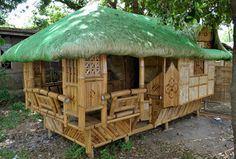 Nipa Hut Design in the Philippines - Cebu Image Lifestyle Bamboo House Design, Simple House Design, Bahay Kubo Design Philippines, Small Cottage Designs, Hut House, Philippine Houses, Beautiful Small Homes, Bamboo Architecture, House On Stilts