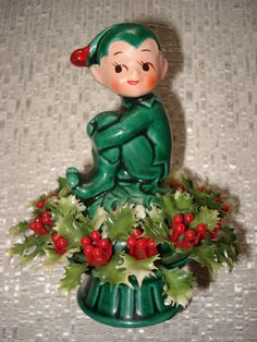 Vintage Inarco Japan Christmas Green Pixie Elf Mushroom Figurine Knee Hugger | eBay