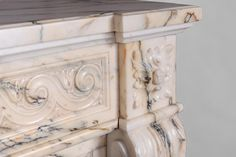 Beautiful antique Louis XVI style fireplace in Paonazzo marble with vitruvian scroll frieze (Reference 3241) - Available at Galerie Marc Maison #fireplace #antique #19thcentury #paonazzo #marble #saintouen #fleamarket #french #louis16 #style