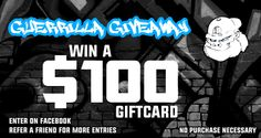Want to win a 100$ shoping spree to Guerrilla Tees? Enter today through Facebook for FREE no purchase necessary! #giveaway #sweepstakes #contest #enter #freeshirt #freestuff