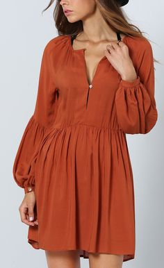 brown long sleeve pleated dress.