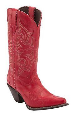 Durango® Crush™ Women's Red Rock-N-Scroll Wing Tip Snip Toe Western Boots man made  Price: $119.99