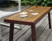 Coffee Table Cribbage Board Natural wood with Black Accent Border