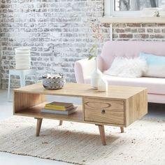 Table basse en bois de mindy avec tiroir 120 OSLO BOIS DESSUS BOIS DESSOUS