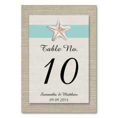 Starfish Beach Wedding Table Numbers - Turquoise