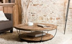 Table basse ronde en bois et son beau double plateau à vite découvrir Opt for the industrial style with this round living room table in solid wood and black metal, composed of two trays Round Black Coffee Table, Solid Wood Coffee Table, Diy Coffee Table, Coffee Table Design, Decorating Coffee Tables, Coffee Ideas, Black Table, Wooden Coffee Tables, Round Industrial Coffee Table