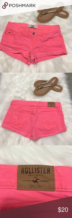 Hollister Distressed Pink Jean Shorts Super cute!! Hollister distressed pink Jean shorts Hollister Shorts Jean Shorts