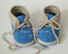 Crochet baby booties, baby boy shoes, boots, sneakers, light tan, blue, white, READY TO SHIP, photo prop, size 6-9 months, gift