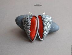 Купить Комплект из полимерной глины Лава. Кольцо, серьги и браслет…