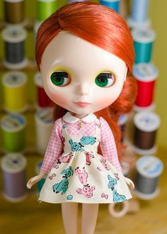 Dress for Blythe Doll.... I want their doll clothes in my size. The outfits all all so damn cute.