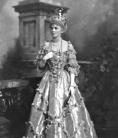 """Images by Lafayette of the Guests in Costume at the Devonshire House Ball 3 July 1897. Mrs William (Willie) Dodge James, later Mrs John Chaytor Brinton, née Evelyn Elizabeth Forbes (1868-1929), """"in costume of period of Henry II"""" (1519-1559)"""
