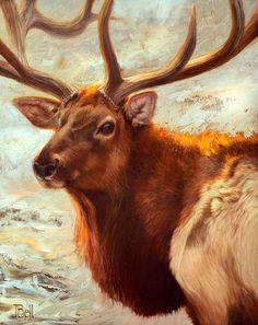 Julie Bell, Hues of Sunrise, oil, 16 x - Southwest Art Magazine Julie Bell, Oil Painting Techniques, Southwest Art, Magazine Art, Fine Art Gallery, Animal Paintings, Pretty Pictures, Sunrise, Moose Art