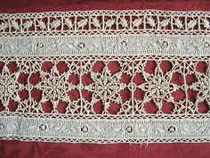Superb piece of antique italian cutwork needle lace