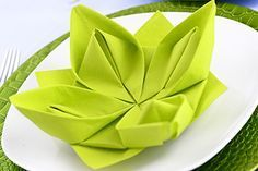 Water lily or lotus flower will make this f… Napkins fold instruction water lily. Water lily or lotus flower will make this figur … Napkin Origami, Napkin Folding, Origami Easy, Origami Envelope Easy, Making Water, Embroidered Towels, Useful Origami, Origami Flowers, Wedding Napkins