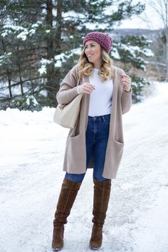 Casual Winter Pastel Outfit Pink Pom Pom Beanie and Camel Oversized Sweater Gap High Waisted Jeans Vince Camuto OTK Brown Suede Boots